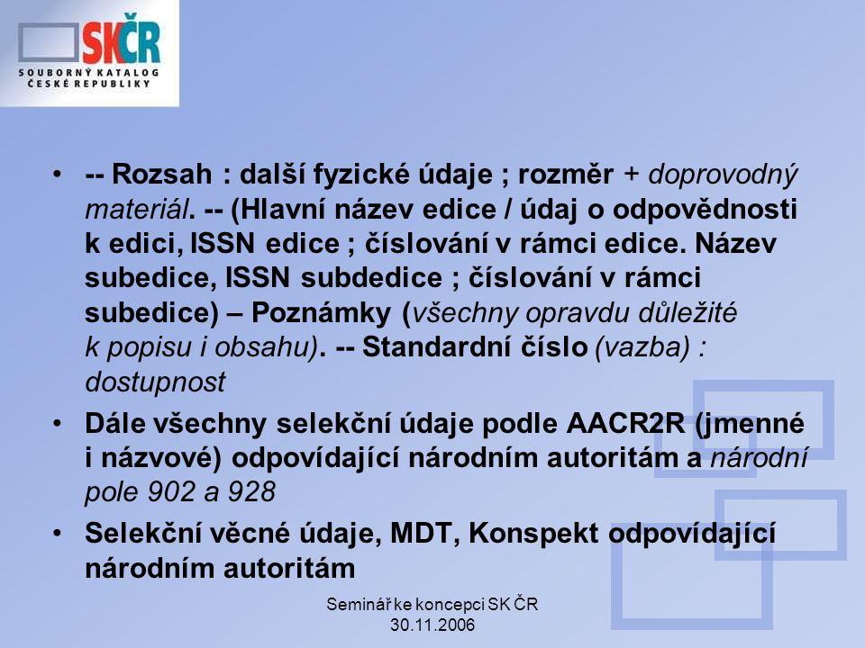 Seminář ke koncepci SK ČR 30.11.2006 -- Rozsah : další fyzické údaje ; rozměr + doprovodný materiál.