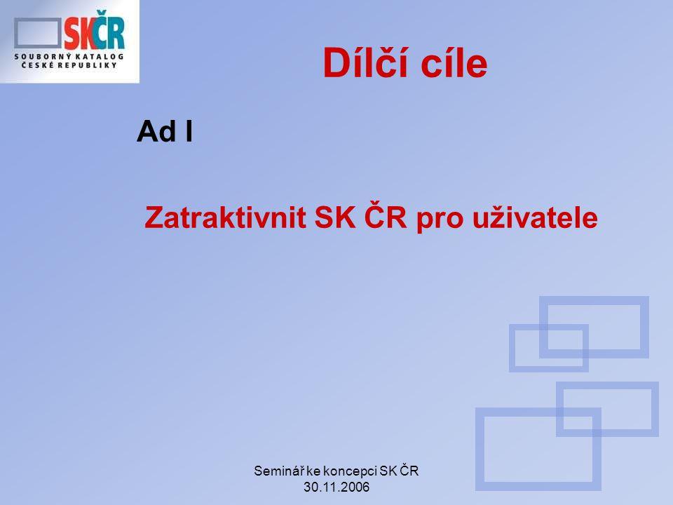 Seminář ke koncepci SK ČR 30.11.2006 Dílčí cíle Ad I Zatraktivnit SK ČR pro uživatele