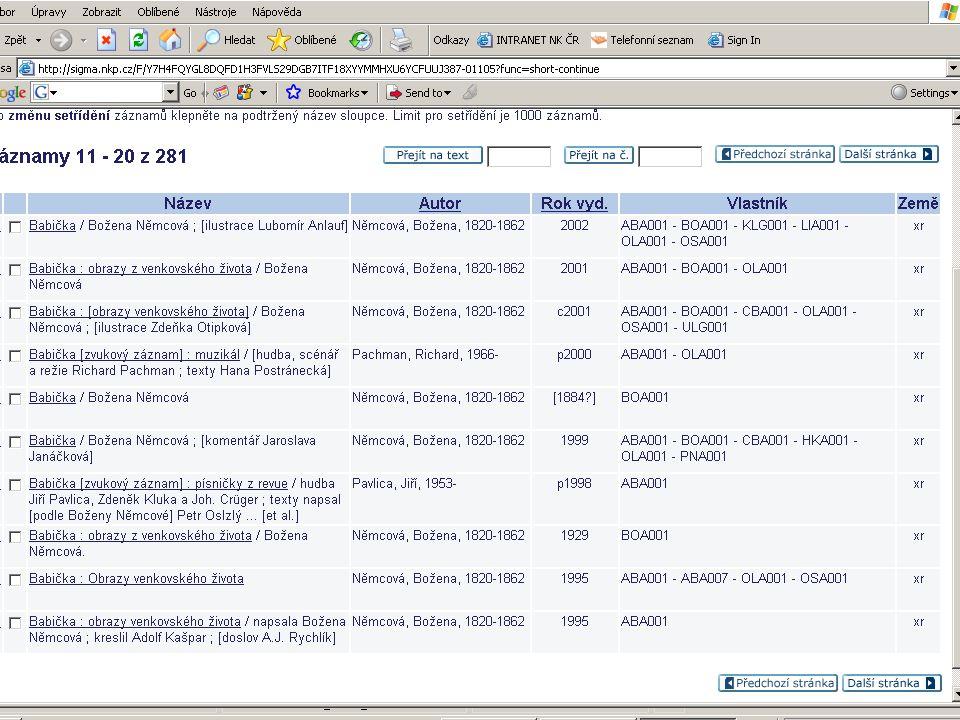 Seminář ke koncepci SK ČR 30.11.2006 postupně implementovat principy FRBR pro snazší a efektivnější vyhledávání a provázání údajů http://www.loc.gov/marc/marc-functional- analysis/tool.html#examples