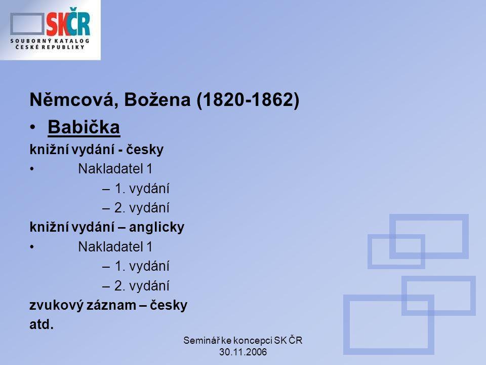 Seminář ke koncepci SK ČR 30.11.2006 Němcová, Božena (1820-1862) Babička knižní vydání - česky Nakladatel 1 –1.