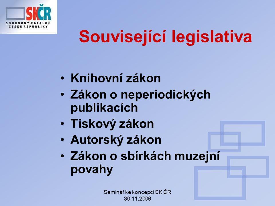 Seminář ke koncepci SK ČR 30.11.2006 pravidelně kontrolovat funkčnost odkazů