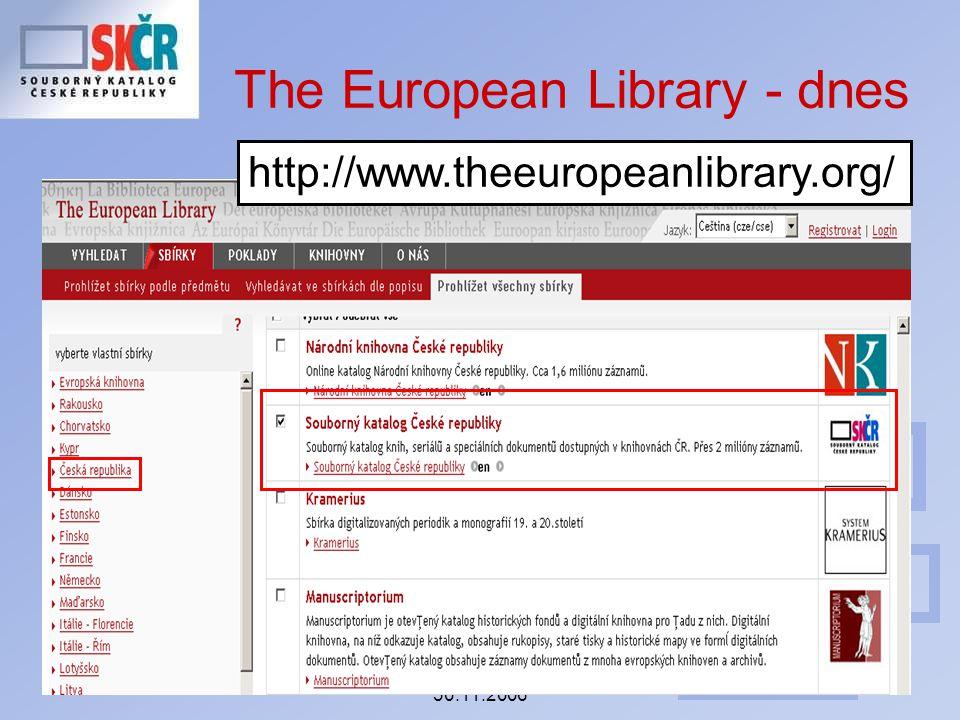 Seminář ke koncepci SK ČR 30.11.2006 The European Library - dnes http://www.theeuropeanlibrary.org/