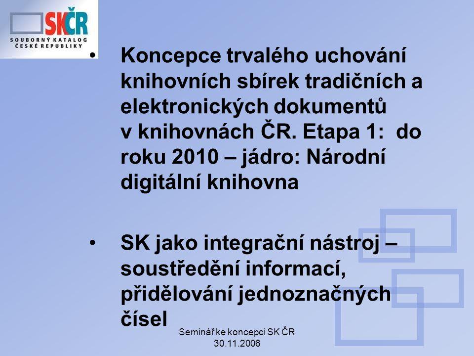 Seminář ke koncepci SK ČR 30.11.2006 Koncepce trvalého uchování knihovních sbírek tradičních a elektronických dokumentů v knihovnách ČR.