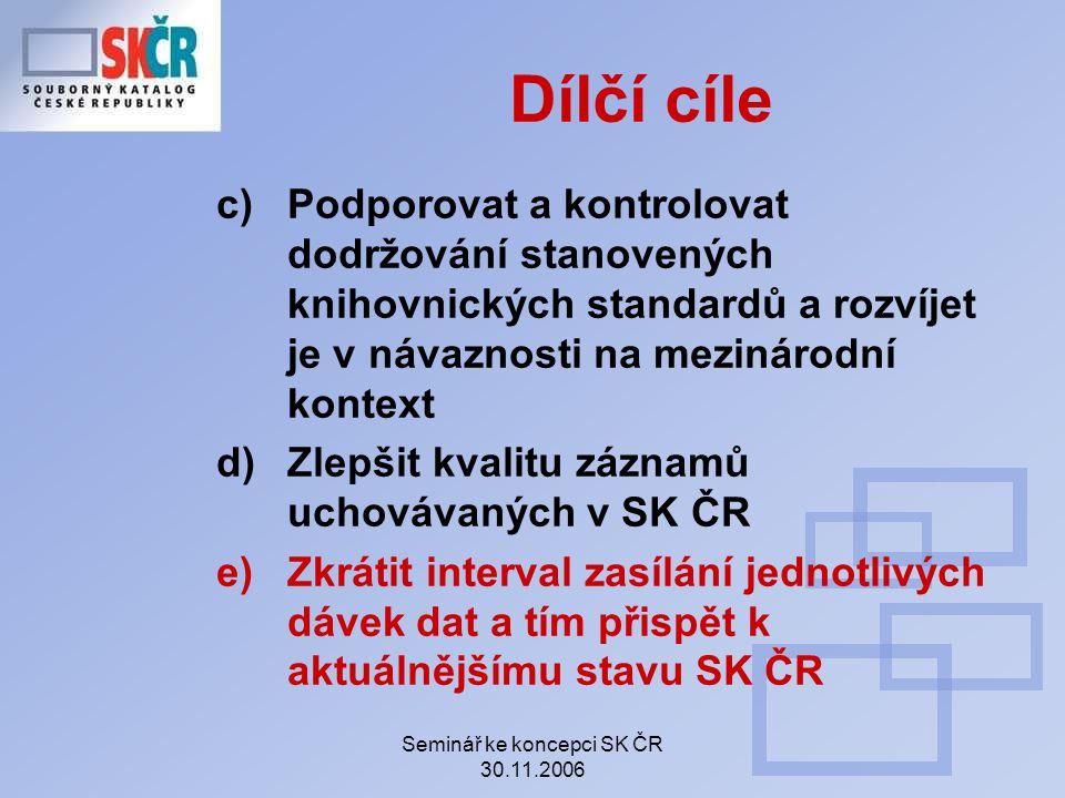 Seminář ke koncepci SK ČR 30.11.2006 Zároveň budou zpřísněny kontroly správnosti vyplněných polí např.