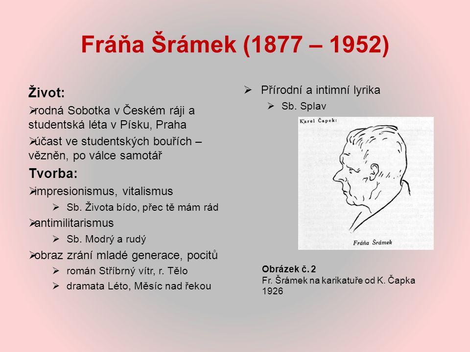 Fráňa Šrámek (1877 – 1952) Život:  rodná Sobotka v Českém ráji a studentská léta v Písku, Praha  účast ve studentských bouřích – vězněn, po válce sa