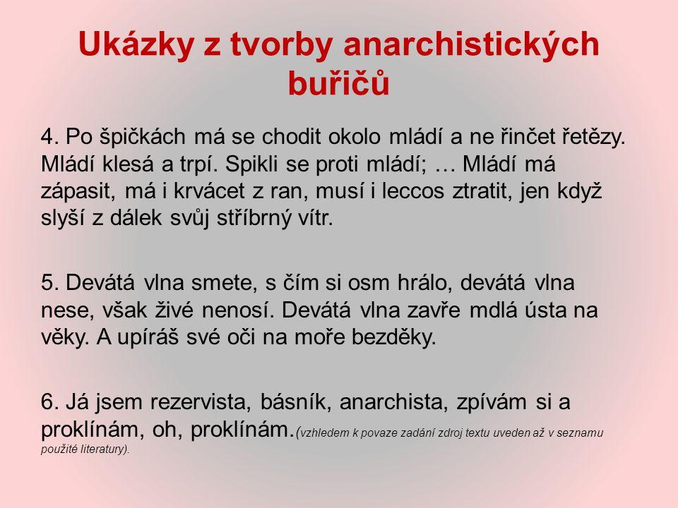 Ukázky z tvorby anarchistických buřičů 4. Po špičkách má se chodit okolo mládí a ne řinčet řetězy. Mládí klesá a trpí. Spikli se proti mládí; … Mládí