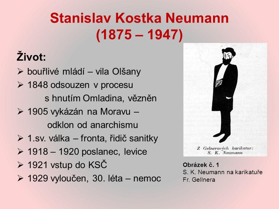 Stanislav Kostka Neumann (1875 – 1947) Život:  bouřlivé mládí – vila Olšany  1848 odsouzen v procesu s hnutím Omladina, vězněn  1905 vykázán na Mor