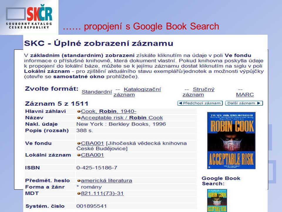 21 …… propojení s Google Book Search