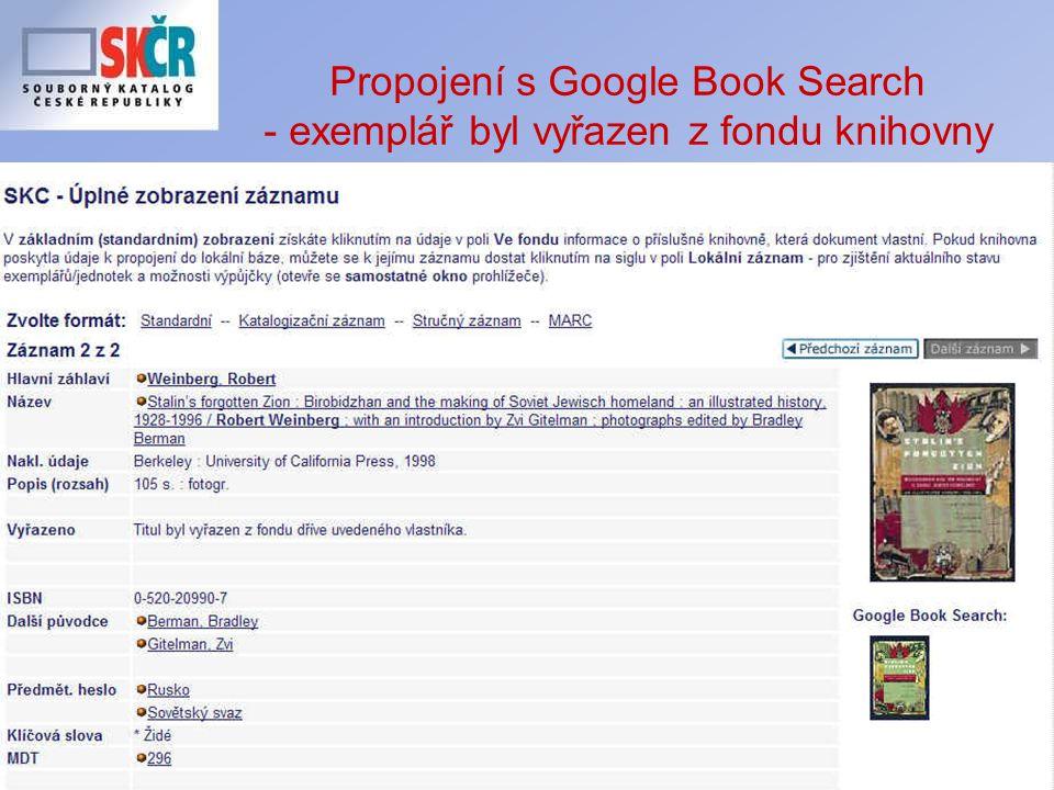 22 Propojení s Google Book Search - exemplář byl vyřazen z fondu knihovny