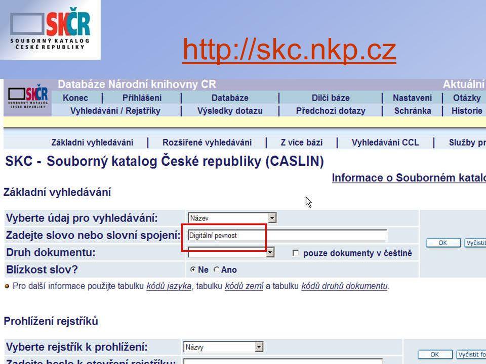 26 Co chystáme nového ? Evidenci digitalizace v SK ČR (prostřednictvím on-line formuláře)
