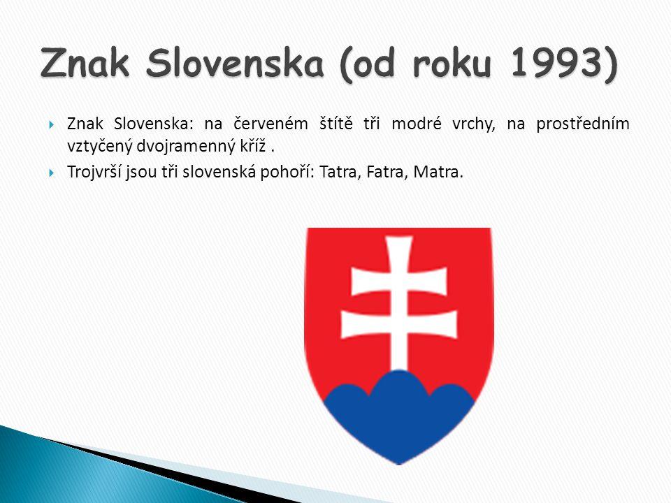  Znak Slovenska: na červeném štítě tři modré vrchy, na prostředním vztyčený dvojramenný kříž.  Trojvrší jsou tři slovenská pohoří: Tatra, Fatra, Mat