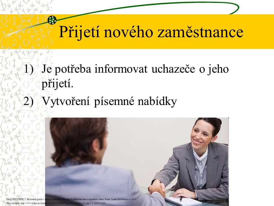 Přijetí nového zaměstnance 1)Je potřeba informovat uchazeče o jeho přijetí.