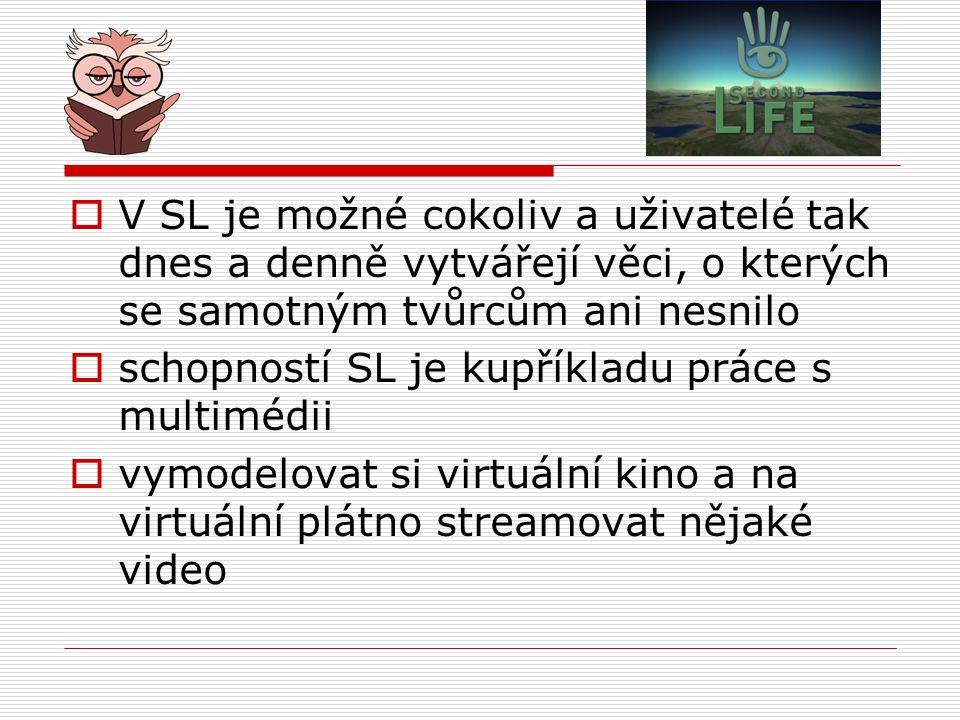  V SL je možné cokoliv a uživatelé tak dnes a denně vytvářejí věci, o kterých se samotným tvůrcům ani nesnilo  schopností SL je kupříkladu práce s multimédii  vymodelovat si virtuální kino a na virtuální plátno streamovat nějaké video