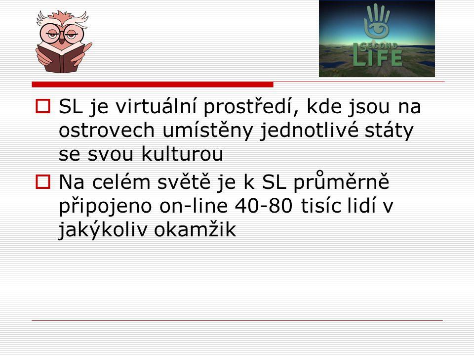  SL je virtuální prostředí, kde jsou na ostrovech umístěny jednotlivé státy se svou kulturou  Na celém světě je k SL průměrně připojeno on-line 40-8