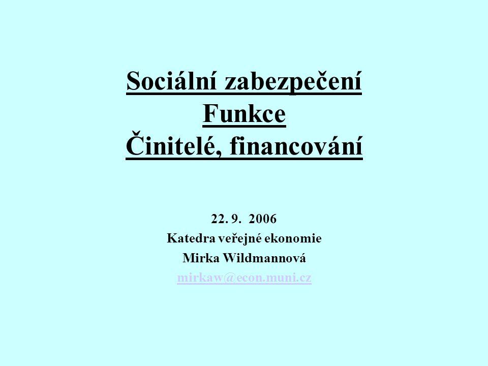 Sociální zabezpečení Funkce Činitelé, financování 22. 9. 2006 Katedra veřejné ekonomie Mirka Wildmannová mirkaw@econ.muni.cz