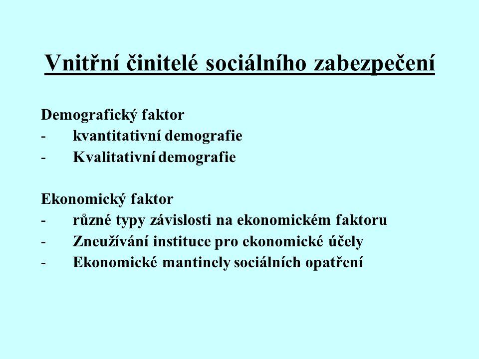 Vnitřní činitelé sociálního zabezpečení Demografický faktor -kvantitativní demografie -Kvalitativní demografie Ekonomický faktor -různé typy závislost