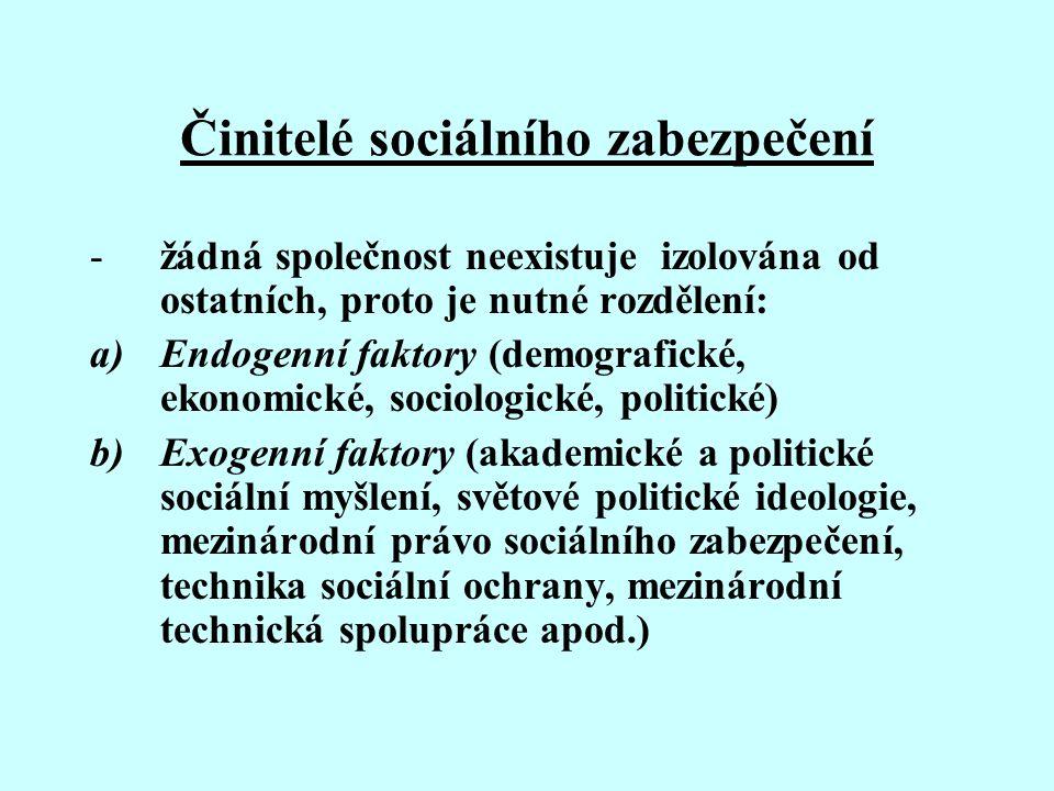 Činitelé sociálního zabezpečení -žádná společnost neexistuje izolována od ostatních, proto je nutné rozdělení: a)Endogenní faktory (demografické, ekon