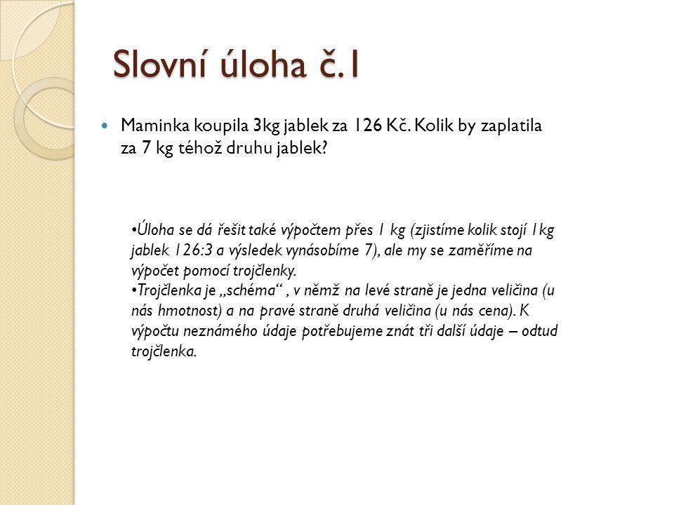 Slovní úloha č.1 Maminka koupila 3kg jablek za 126 Kč. Kolik by zaplatila za 7 kg téhož druhu jablek? Úloha se dá řešit také výpočtem přes 1 kg (zjist