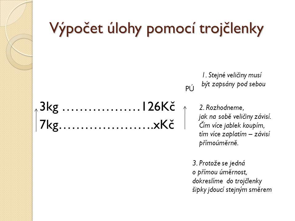 Výpočet úlohy pomocí trojčlenky 3kg ………………126Kč 7kg………………….xKč 1. Stejné veličiny musí být zapsány pod sebou 2. Rozhodneme, jak na sobě veličiny závis