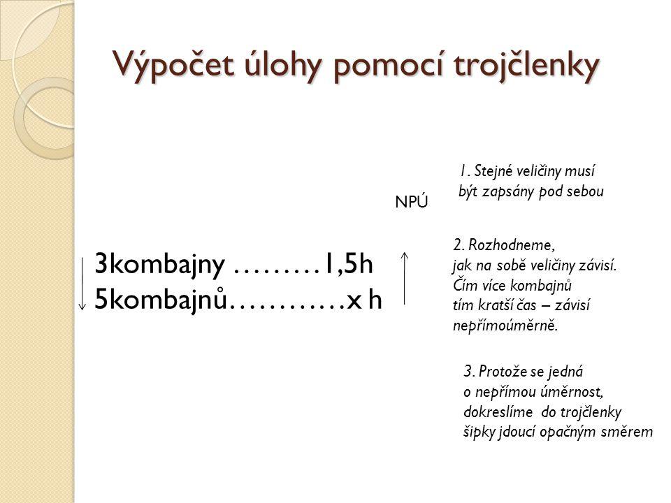 Výpočet úlohy pomocí trojčlenky NPÚ 3kombajny ………1,5h 5kombajnů…………x h 4.