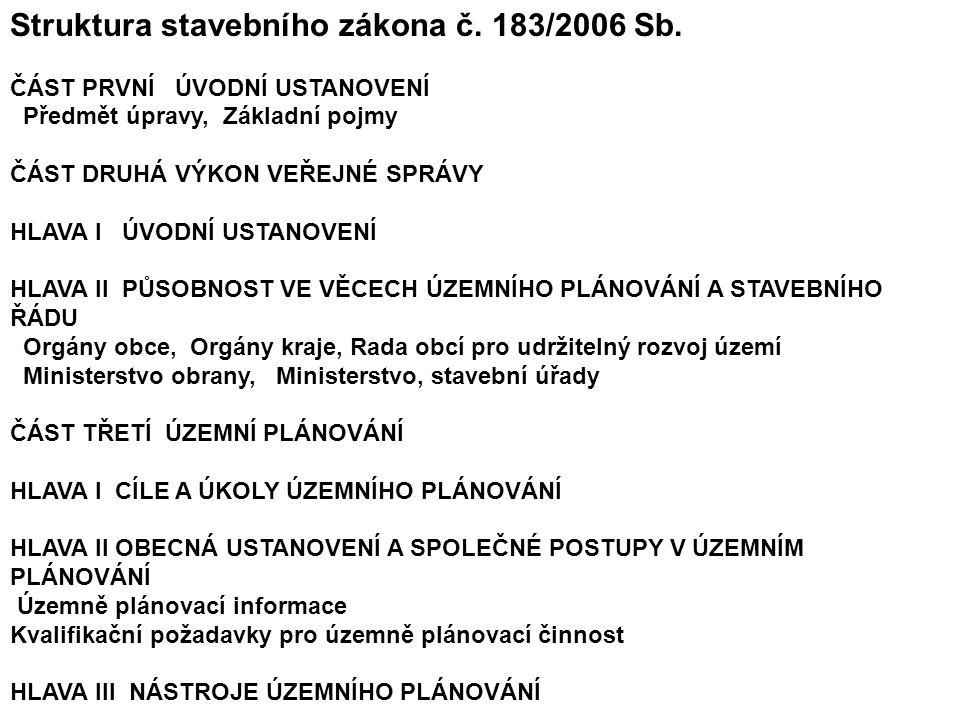 Struktura stavebního zákona č. 183/2006 Sb.