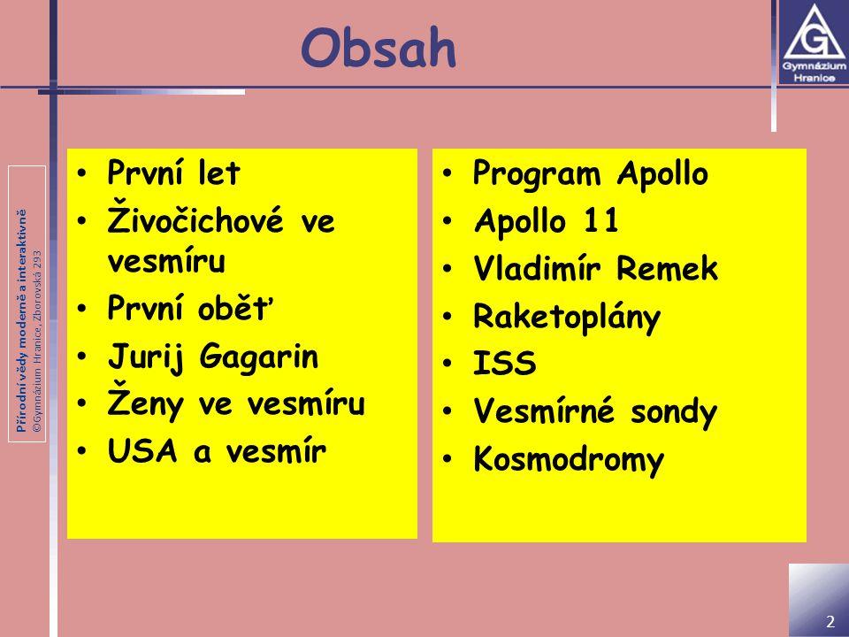 Přírodní vědy moderně a interaktivně ©Gymnázium Hranice, Zborovská 293 První let do vesmíru 4.