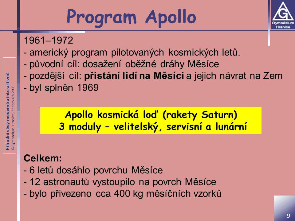 Přírodní vědy moderně a interaktivně ©Gymnázium Hranice, Zborovská 293 Apollo 11 Mise Apollo 11 - Edwin Aldrin, Neil Armstrong a Michael Collins (pilot velitelského modulu Columbia) - 20.