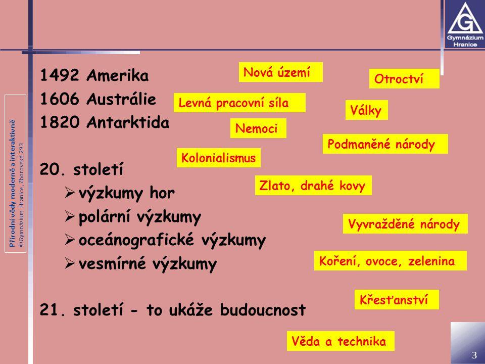 Přírodní vědy moderně a interaktivně ©Gymnázium Hranice, Zborovská 293 3 1492 Amerika 1606 Austrálie 1820 Antarktida 20. století  výzkumy hor  polár