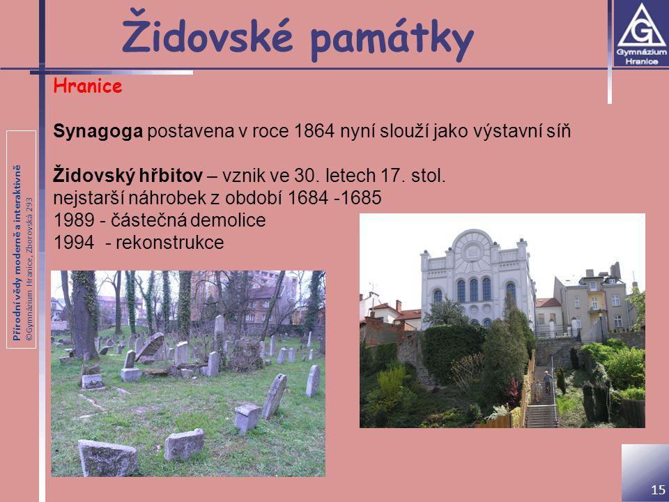 Přírodní vědy moderně a interaktivně ©Gymnázium Hranice, Zborovská 293 Židovské památky 15 Hranice Synagoga postavena v roce 1864 nyní slouží jako výs