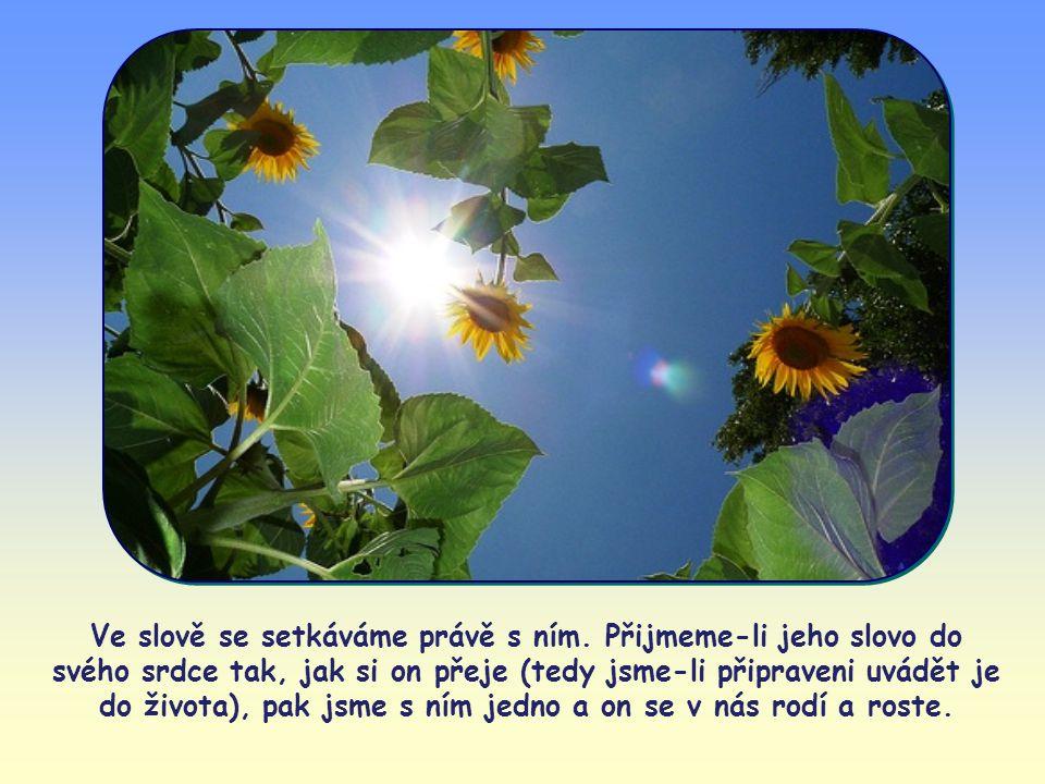 Nejde o pouhé vybídnutí a doporučení, o pouhé pokyny a návody, příkazy či rozkazy. V Ježíšových slovech je přítomen sám Ježíš, který mluví k nám. Jeho