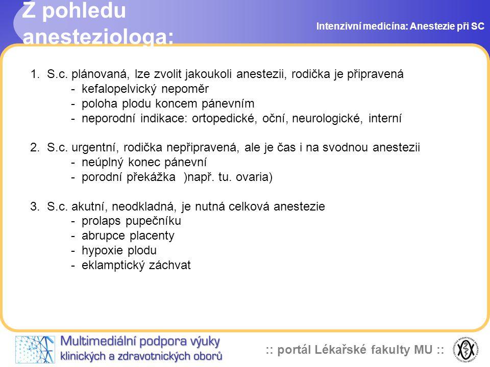 :: portál Lékařské fakulty MU :: Z pohledu anesteziologa: Intenzivní medicína: Anestezie při SC 1. S.c. plánovaná, lze zvolit jakoukoli anestezii, rod