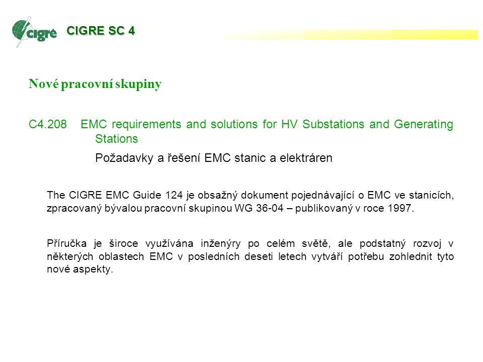 Nové pracovní skupiny C4.208 EMC requirements and solutions for HV Substations and Generating Stations Požadavky a řešení EMC stanic a elektráren The CIGRE EMC Guide 124 je obsažný dokument pojednávající o EMC ve stanicích, zpracovaný bývalou pracovní skupinou WG 36-04 – publikovaný v roce 1997.