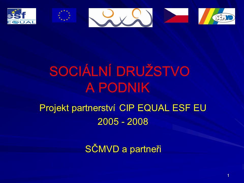 1 SOCIÁLNÍ DRUŽSTVO A PODNIK Projekt partnerství CIP EQUAL ESF EU 2005 - 2008 SČMVD a partneři