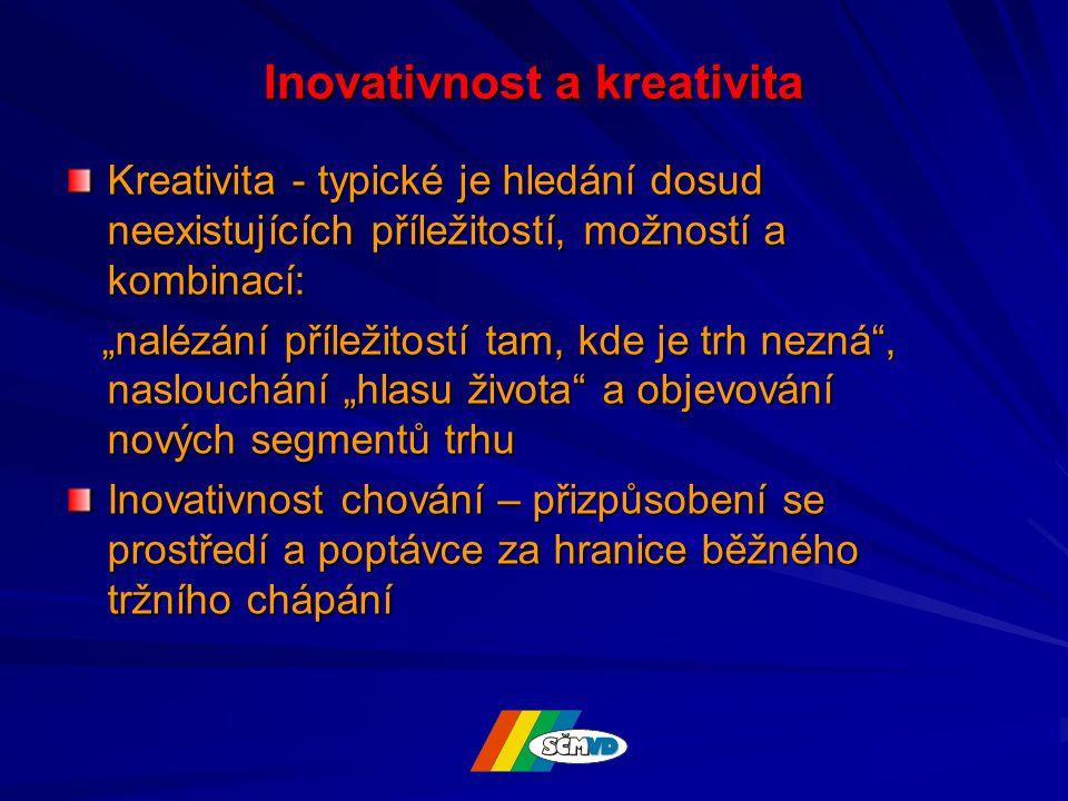 """Inovativnost a kreativita Kreativita - typické je hledání dosud neexistujících příležitostí, možností a kombinací: """"nalézání příležitostí tam, kde je trh nezná , naslouchání """"hlasu života a objevování nových segmentů trhu """"nalézání příležitostí tam, kde je trh nezná , naslouchání """"hlasu života a objevování nových segmentů trhu Inovativnost chování – přizpůsobení se prostředí a poptávce za hranice běžného tržního chápání"""