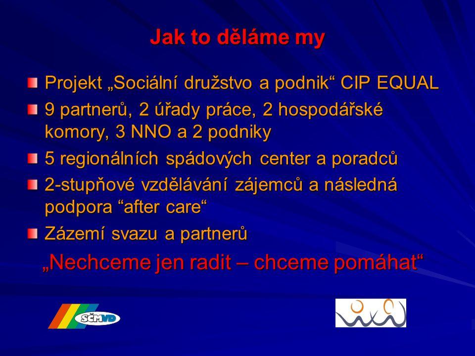 """Jak to děláme my Projekt """"Sociální družstvo a podnik CIP EQUAL 9 partnerů, 2 úřady práce, 2 hospodářské komory, 3 NNO a 2 podniky 5 regionálních spádových center a poradců 2-stupňové vzdělávání zájemců a následná podpora after care Zázemí svazu a partnerů """"Nechceme jen radit – chceme pomáhat """"Nechceme jen radit – chceme pomáhat"""
