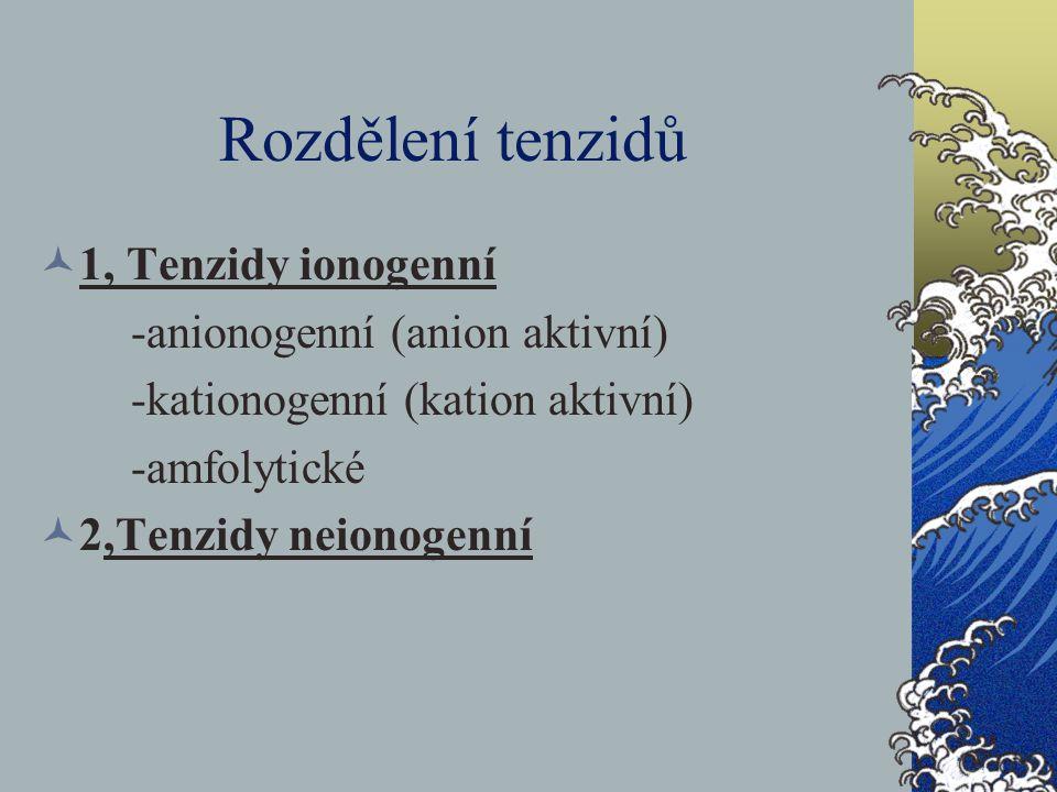 Rozdělení tenzidů 1, Tenzidy ionogenní -anionogenní (anion aktivní) -kationogenní (kation aktivní) -amfolytické 2,Tenzidy neionogenní