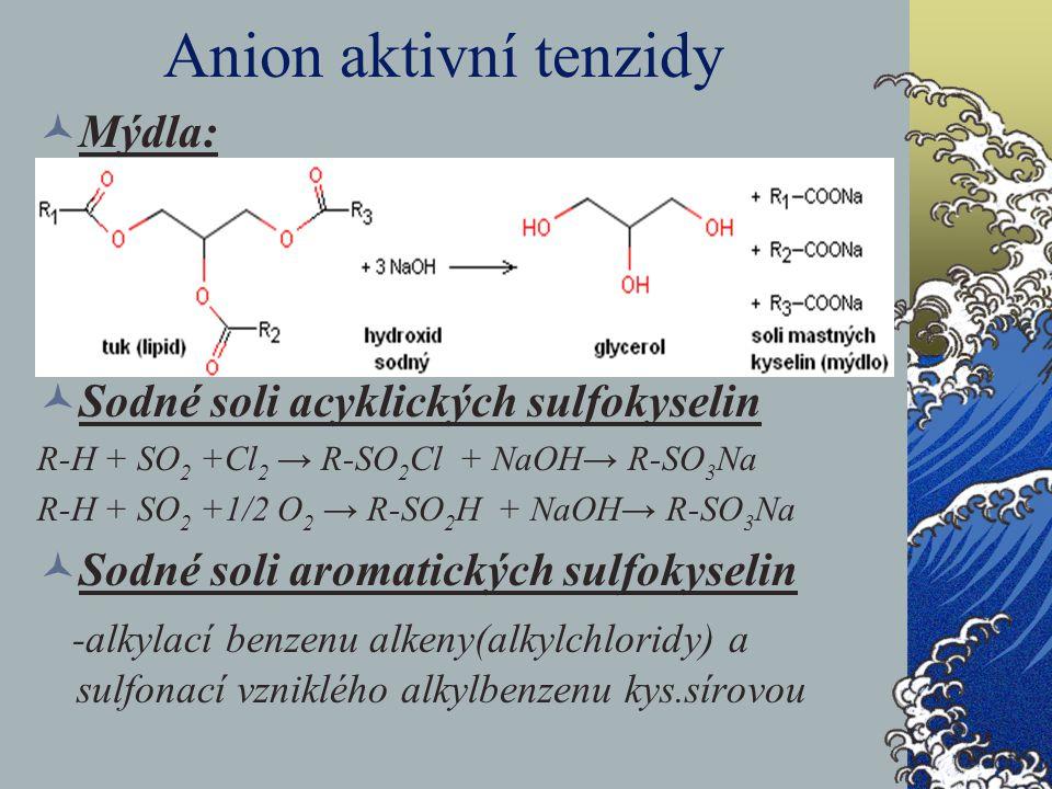 Anion aktivní tenzidy Mýdla: Sodné soli acyklických sulfokyselin R-H + SO 2 +Cl 2 → R-SO 2 Cl + NaOH→ R-SO 3 Na R-H + SO 2 +1/2 O 2 → R-SO 2 H + NaOH→