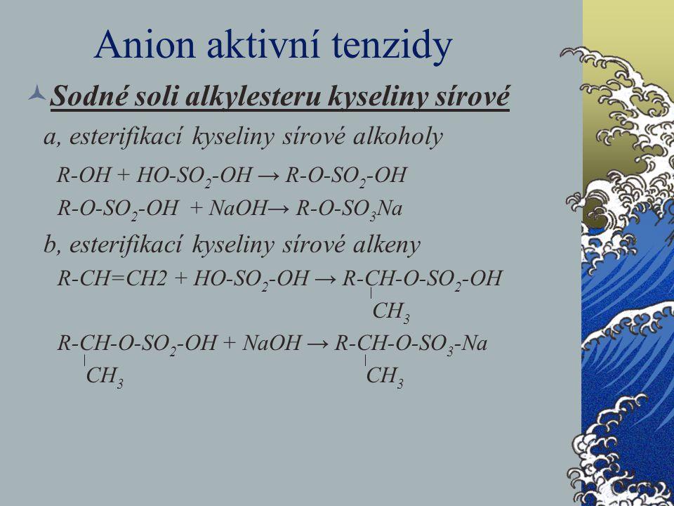 Anion aktivní tenzidy Sodné soli alkylesteru kyseliny sírové a, esterifikací kyseliny sírové alkoholy R-OH + HO-SO 2 -OH → R-O-SO 2 -OH R-O-SO 2 -OH +