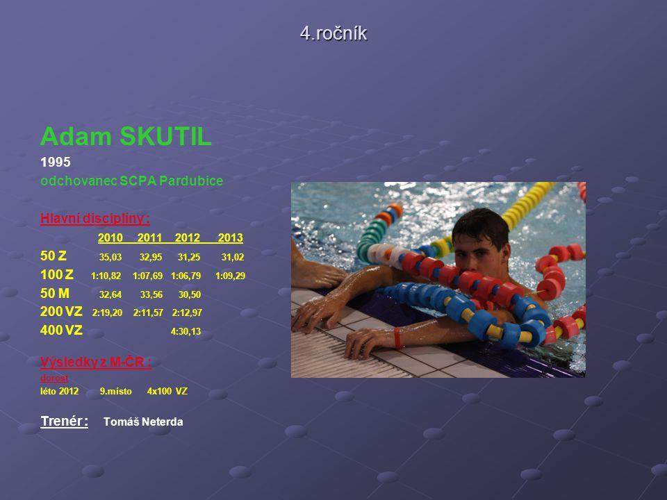 4.ročník Adam SKUTIL 1995 odchovanec SCPA Pardubice Hlavní disciplíny : 2010 2011 2012 2013 50 Z 35,03 32,95 31,25 31,02 100 Z 1:10,82 1:07,69 1:06,79