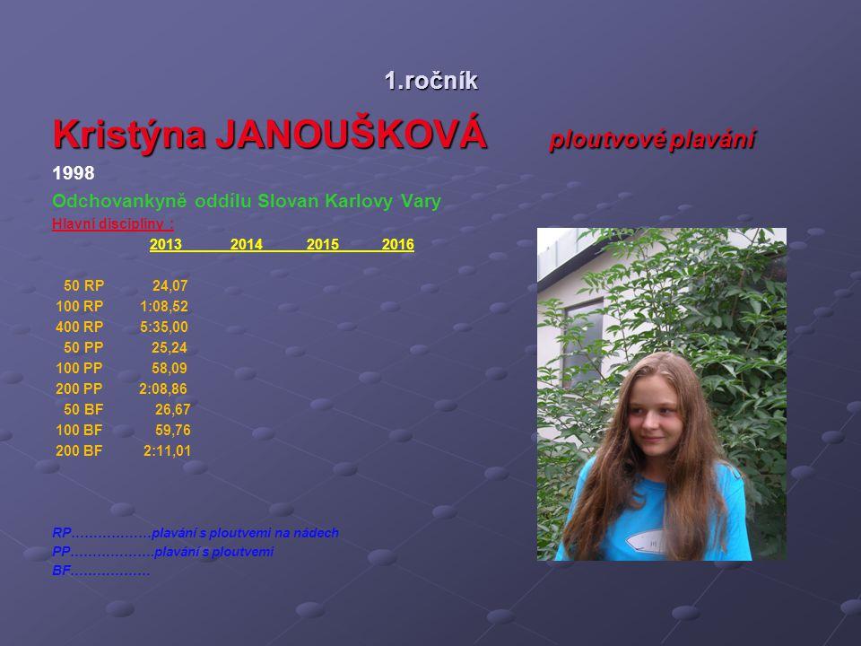 1.ročník Kristýna JANOUŠKOVÁ ploutvové plavání 1998 Odchovankyně oddílu Slovan Karlovy Vary Hlavní disciplíny : 2013 2014 2015 2016 50 RP 24,07 100 RP