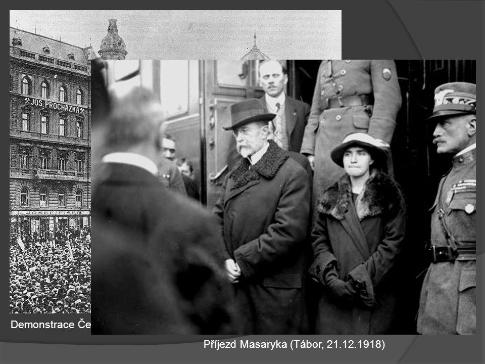 Demonstrace Čechů 28.10.1918 na podporu Národního výboru Příjezd Masaryka (Tábor, 21.12.1918)
