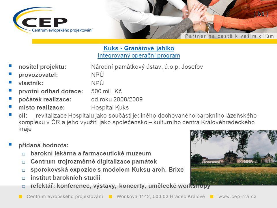 Kuks - Granátové jablko Integrovaný operační program  nositel projektu: Národní památkový ústav, ú.o.p. Josefov  provozovatel:NPÚ  vlastník:NPÚ  p