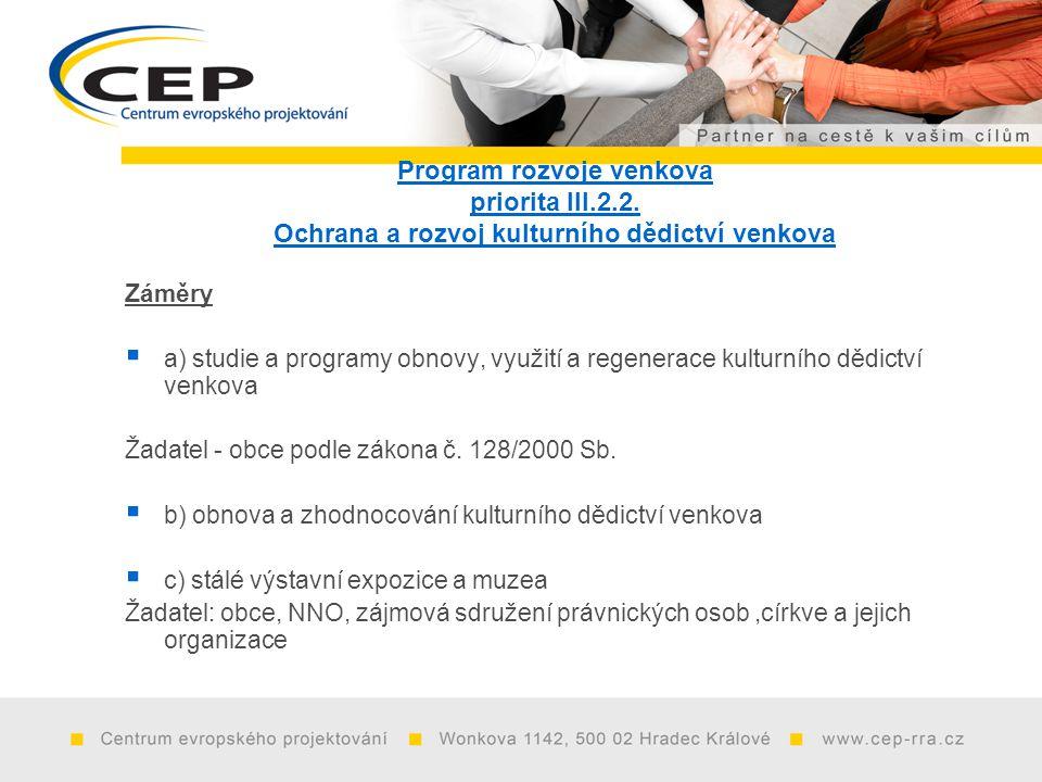 Program rozvoje venkova priorita III.2.2.