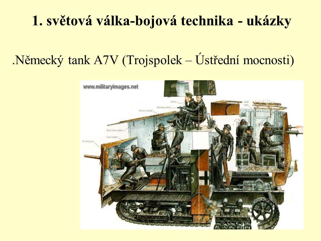 1. světová válka-bojová technika - ukázky.Německý tank A7V (Trojspolek – Ústřední mocnosti)