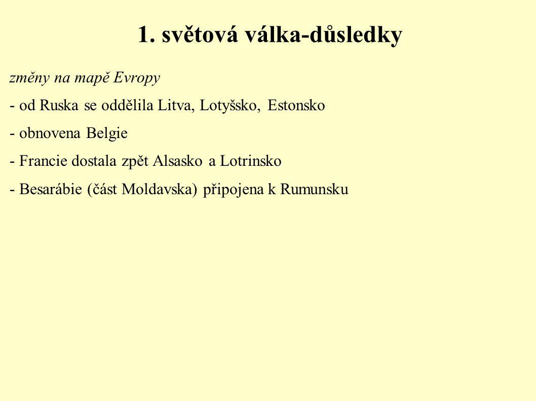 1. světová válka-důsledky změny na mapě Evropy - od Ruska se oddělila Litva, Lotyšsko, Estonsko - obnovena Belgie - Francie dostala zpět Alsasko a Lot
