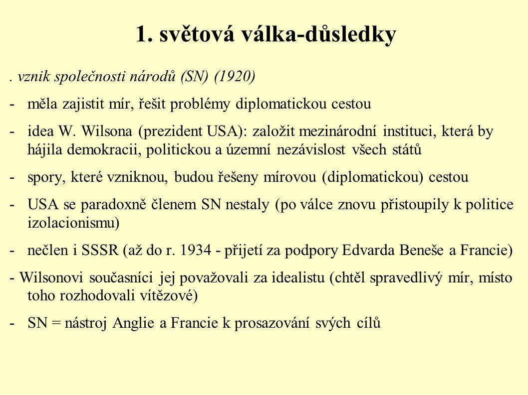 1. světová válka-důsledky. vznik společnosti národů (SN) (1920) - měla zajistit mír, řešit problémy diplomatickou cestou - idea W. Wilsona (prezident
