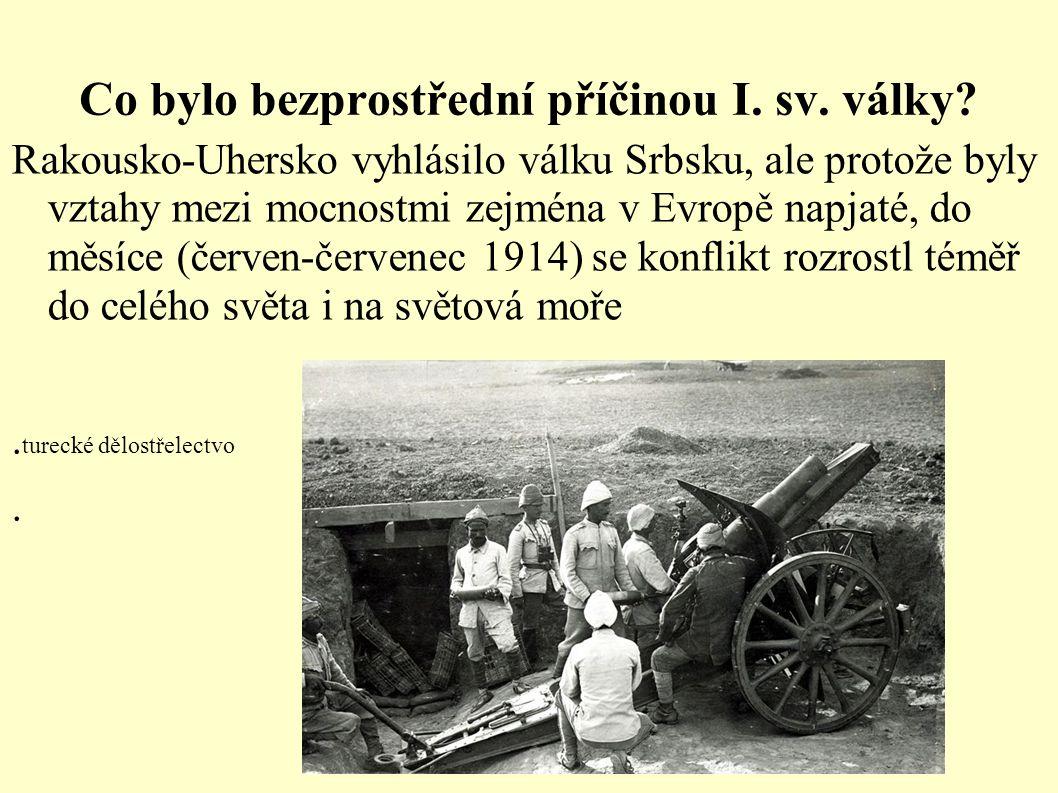 Co bylo bezprostřední příčinou I. sv. války? Rakousko-Uhersko vyhlásilo válku Srbsku, ale protože byly vztahy mezi mocnostmi zejména v Evropě napjaté,
