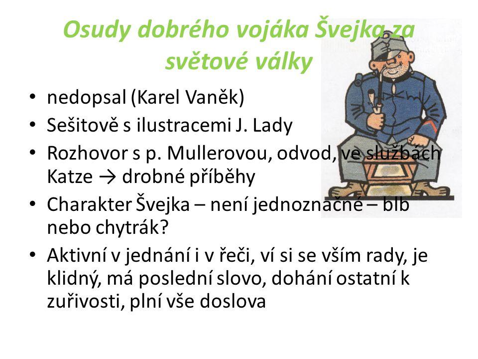 Osudy dobrého vojáka Švejka za světové války nedopsal (Karel Vaněk) Sešitově s ilustracemi J.