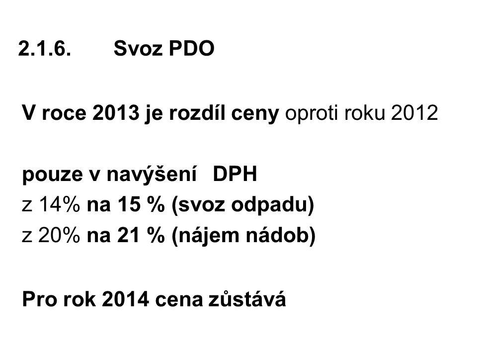 2.1.6.Svoz PDO V roce 2013 je rozdíl ceny oproti roku 2012 pouze v navýšení DPH z 14% na 15 % (svoz odpadu) z 20% na 21 % (nájem nádob) Pro rok 2014 cena zůstává