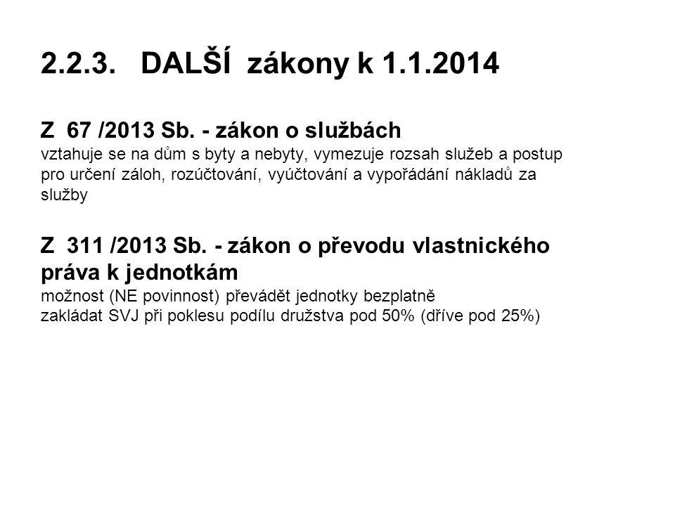 2.2.3.DALŠÍ zákony k 1.1.2014 Z 67 /2013 Sb.